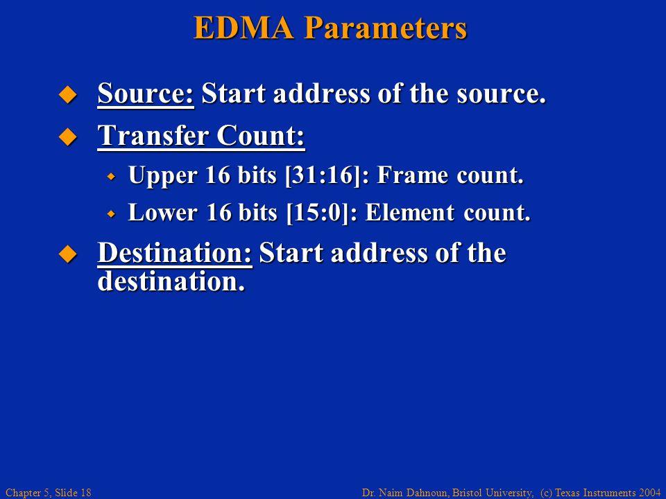 Dr. Naim Dahnoun, Bristol University, (c) Texas Instruments 2004 Chapter 5, Slide 18 EDMA Parameters  Source: Start address of the source.  Transfer