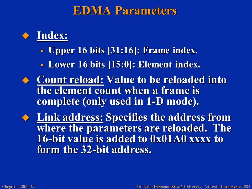 Dr. Naim Dahnoun, Bristol University, (c) Texas Instruments 2004 Chapter 5, Slide 19 EDMA Parameters  Index:  Upper 16 bits [31:16]: Frame index. 