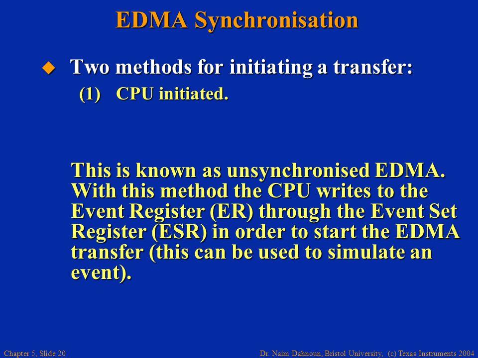 Dr. Naim Dahnoun, Bristol University, (c) Texas Instruments 2004 Chapter 5, Slide 20 EDMA Synchronisation  Two methods for initiating a transfer: Thi