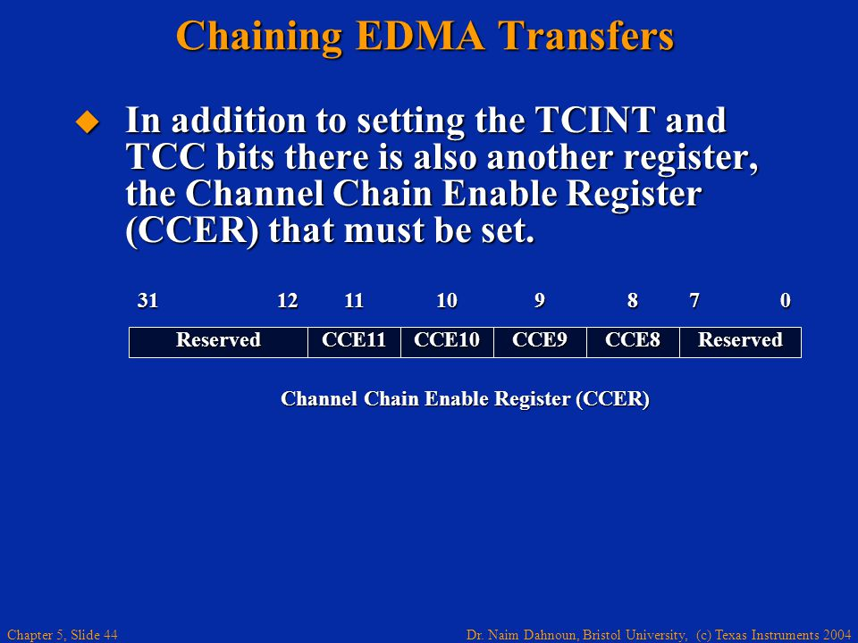 Dr. Naim Dahnoun, Bristol University, (c) Texas Instruments 2004 Chapter 5, Slide 44 Chaining EDMA Transfers  In addition to setting the TCINT and TC