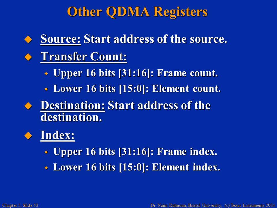Dr. Naim Dahnoun, Bristol University, (c) Texas Instruments 2004 Chapter 5, Slide 50 Other QDMA Registers  Source: Start address of the source.  Tra