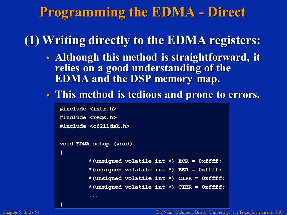 Dr. Naim Dahnoun, Bristol University, (c) Texas Instruments 2004 Chapter 5, Slide 54 Programming the EDMA - Direct (1)Writing directly to the EDMA reg