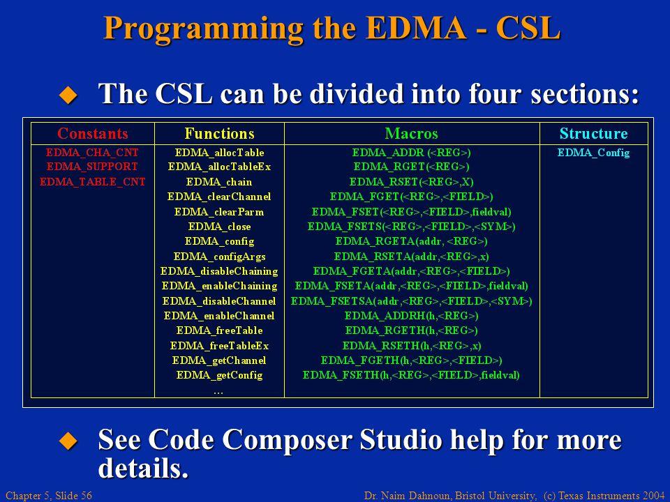 Dr. Naim Dahnoun, Bristol University, (c) Texas Instruments 2004 Chapter 5, Slide 56 Programming the EDMA - CSL  The CSL can be divided into four sec