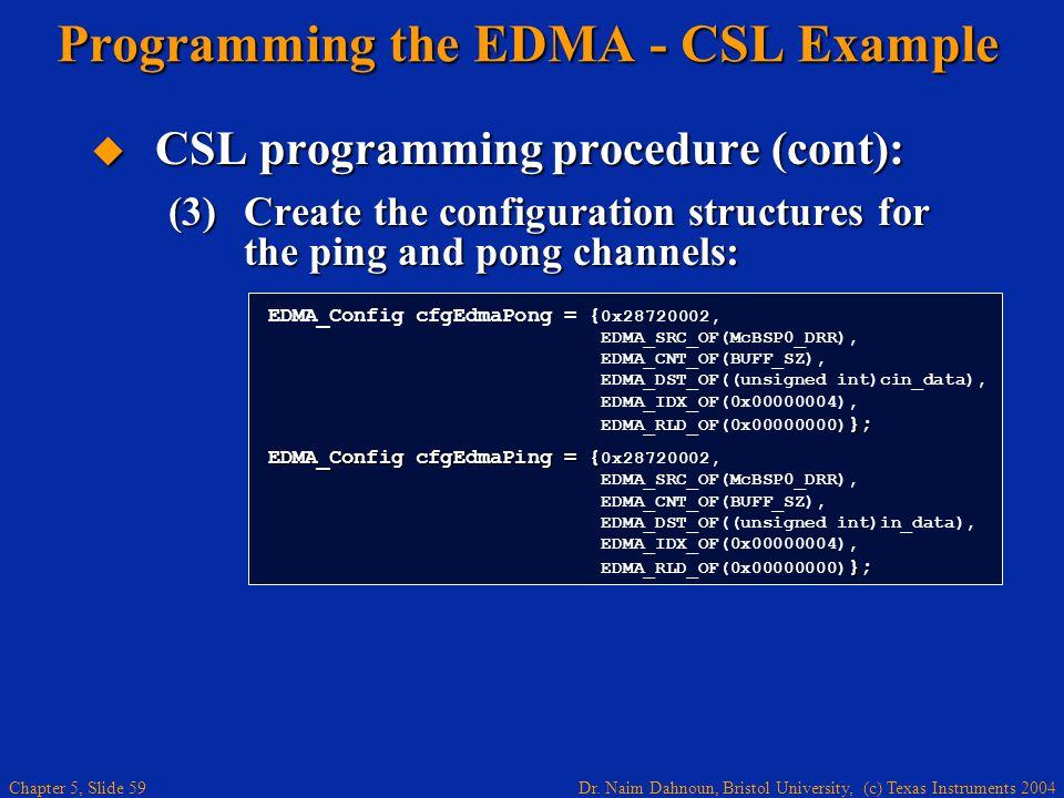 Dr. Naim Dahnoun, Bristol University, (c) Texas Instruments 2004 Chapter 5, Slide 59  CSL programming procedure (cont): (3)Create the configuration s
