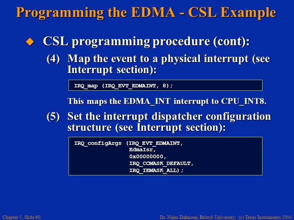 Dr. Naim Dahnoun, Bristol University, (c) Texas Instruments 2004 Chapter 5, Slide 60 Programming the EDMA - CSL Example  CSL programming procedure (c