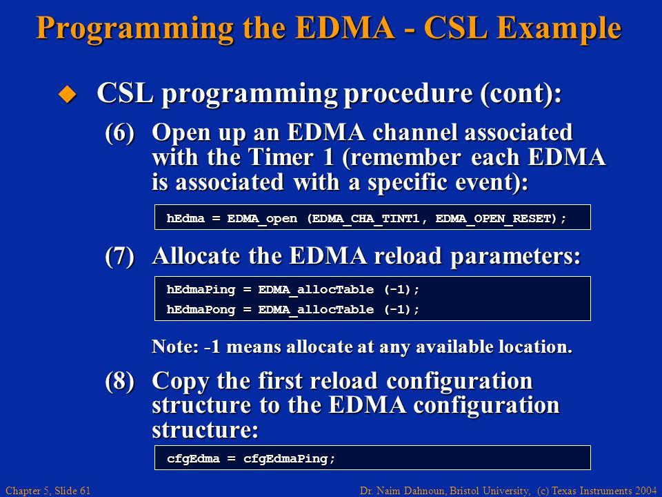 Dr. Naim Dahnoun, Bristol University, (c) Texas Instruments 2004 Chapter 5, Slide 61 Programming the EDMA - CSL Example  CSL programming procedure (c
