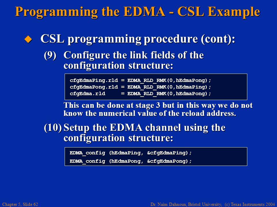 Dr. Naim Dahnoun, Bristol University, (c) Texas Instruments 2004 Chapter 5, Slide 62 Programming the EDMA - CSL Example  CSL programming procedure (c