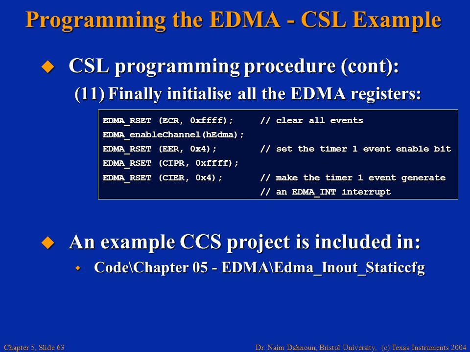 Dr. Naim Dahnoun, Bristol University, (c) Texas Instruments 2004 Chapter 5, Slide 63 Programming the EDMA - CSL Example  CSL programming procedure (c