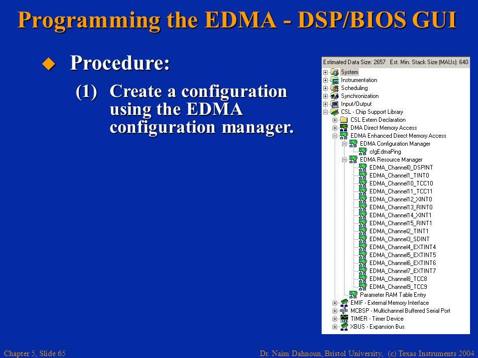 Dr. Naim Dahnoun, Bristol University, (c) Texas Instruments 2004 Chapter 5, Slide 65  Procedure: (1)Create a configuration using the EDMA configurati