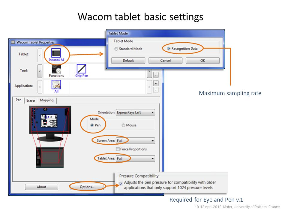 Wacom tablet basic settings Maximum sampling rate Required for Eye and Pen v.1 10-12 April 2012, Mshs, University of Poitiers, France