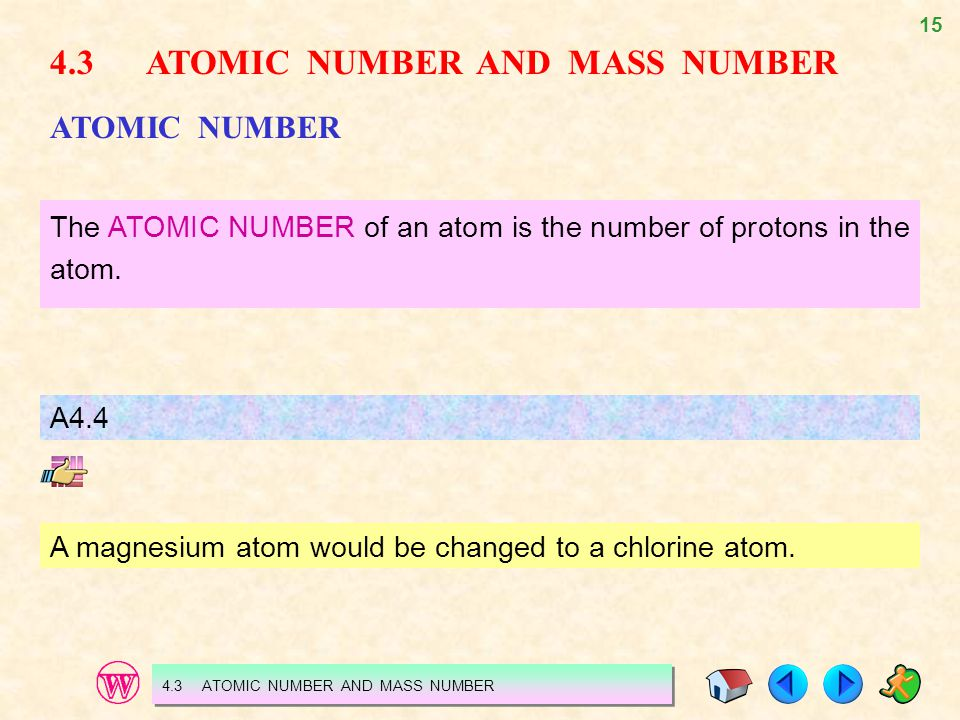 15 4.3 ATOMIC NUMBER AND MASS NUMBER ATOMIC NUMBER The ATOMIC NUMBER of an atom is the number of protons in the atom. A4.4 A magnesium atom would be c