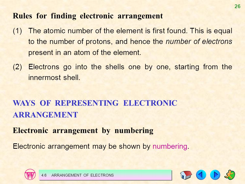 26 Rules for finding electronic arrangement (1)The atomic number of the element is first found. This is equal to the number of protons, and hence the