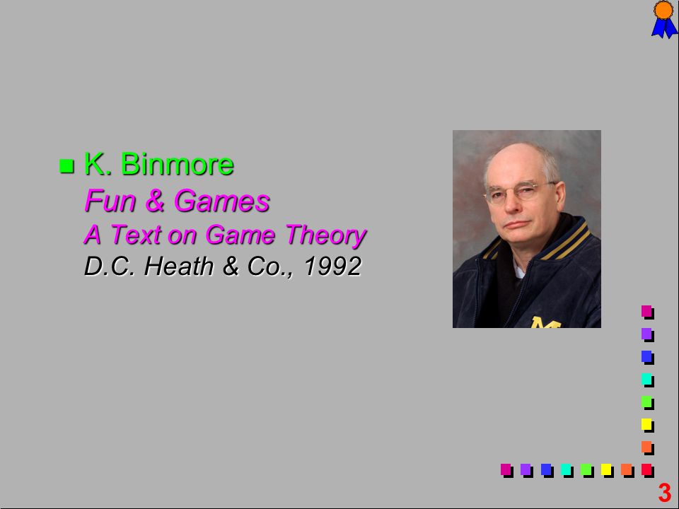 3 n K. n K. Binmore Fun & Games A Text on Game Theory D.C. Heath & Co., 1992