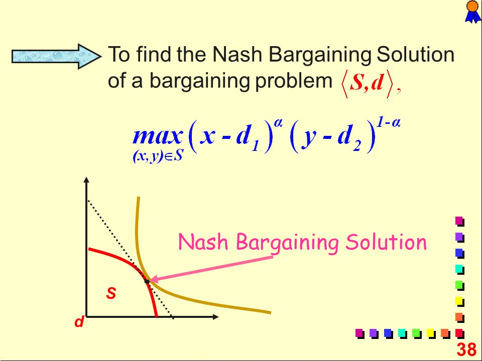 38 To find the Nash Bargaining Solution of a bargaining problem S d Nash Bargaining Solution