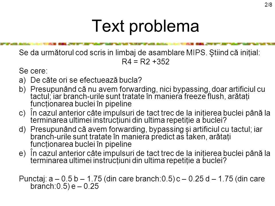 2/8 Text problema Se da următorul cod scris in limbaj de asamblare MIPS.