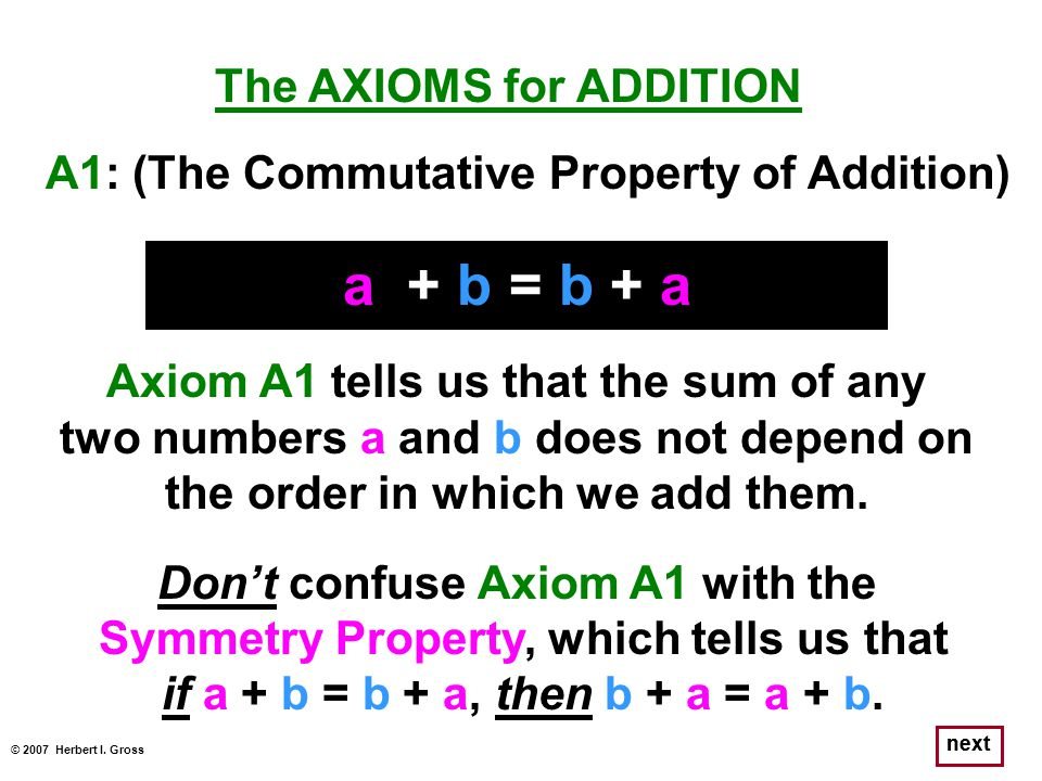 next The AXIOMS for ADDITION a + b = b + a Axiom A1 tells us that the sum of any two numbers a and b does not depend on the order in which we add them
