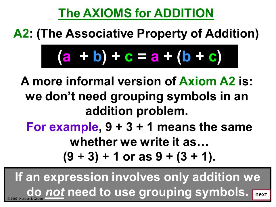 next The AXIOMS for ADDITION (a + b) + c = a + (b + c) A more informal version of Axiom A2 is: we don't need grouping symbols in an addition problem.