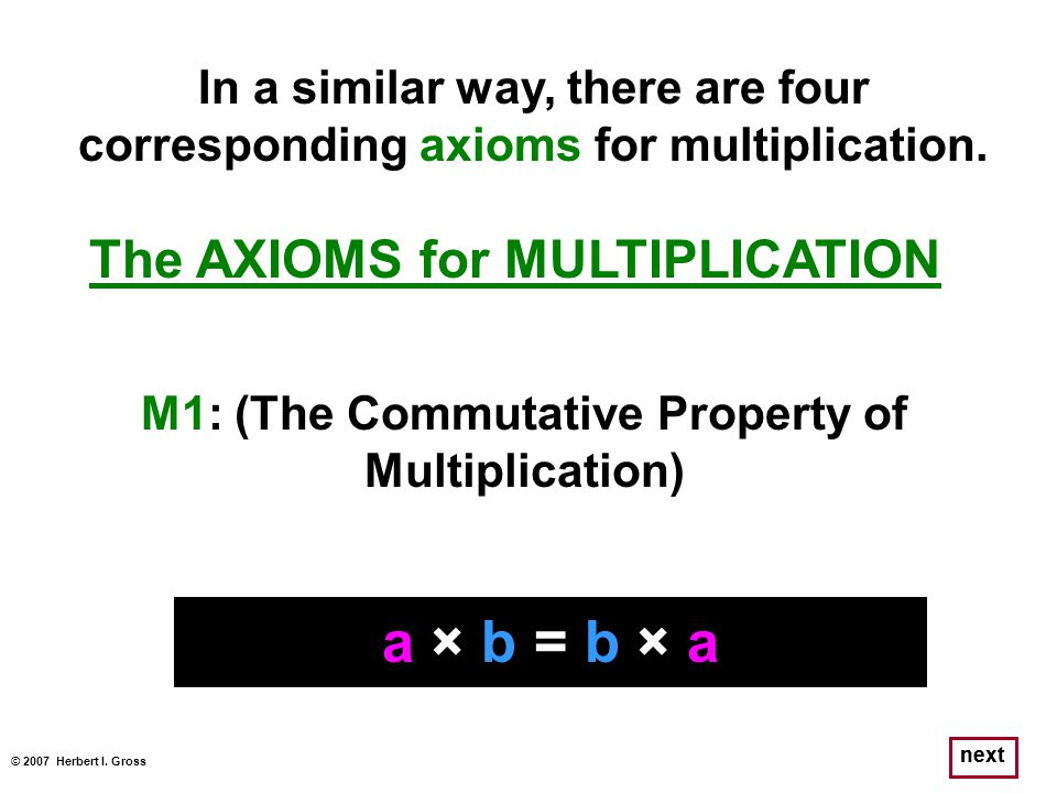 © 2007 Herbert I. Gross next The AXIOMS for MULTIPLICATION a × b = b × a M1: (The Commutative Property of Multiplication) In a similar way, there are
