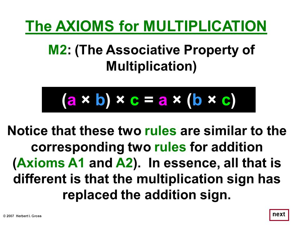 © 2007 Herbert I. Gross next The AXIOMS for MULTIPLICATION (a × b) × c = a × (b × c) Notice that these two rules are similar to the corresponding two