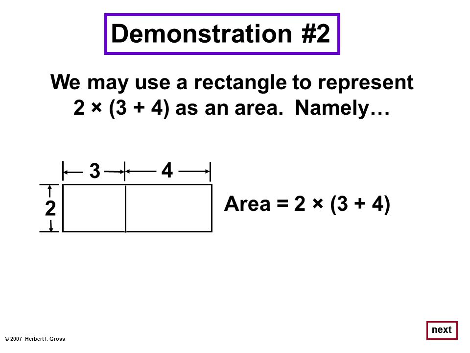 We may use a rectangle to represent 2 × (3 + 4) as an area. Namely… © 2007 Herbert I. Gross next Demonstration #2 2 × 32 × 4 Area = (2 × 3) + (2 × 4)
