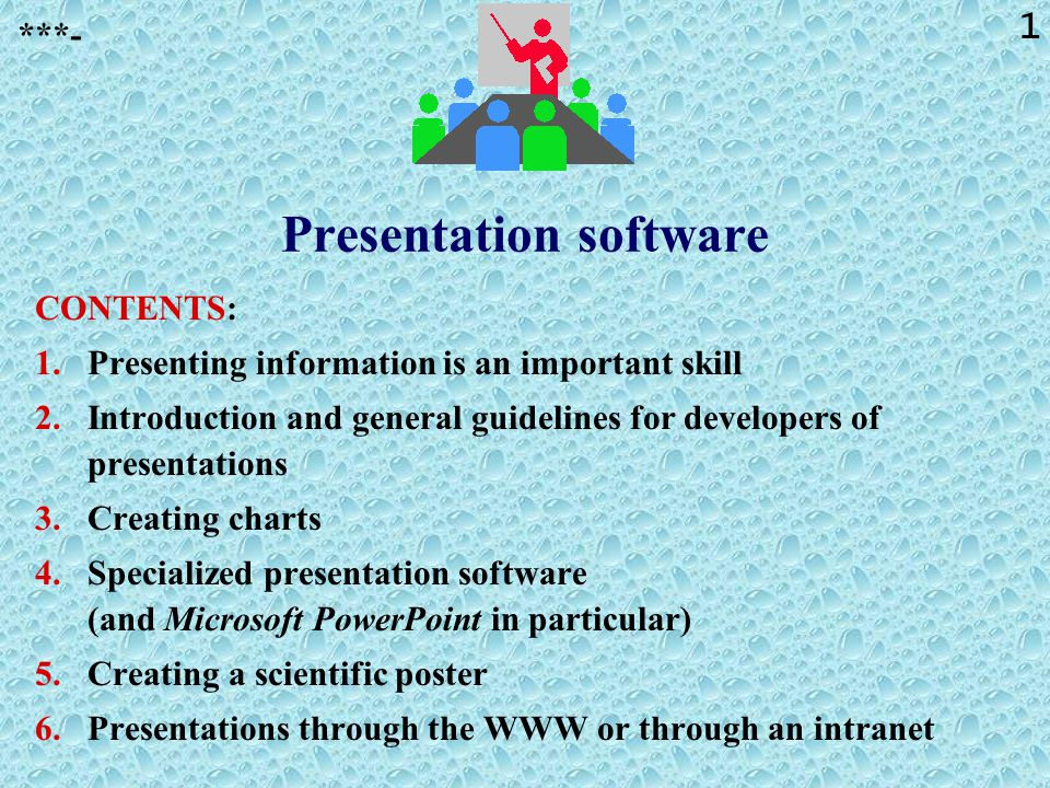 21 Software packages that are useful for presentations To create transparencies: »(Word processing programs) »Presentation software packages.