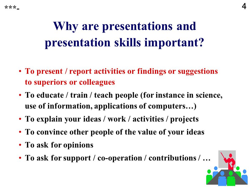 4 Why are presentations and presentation skills important.