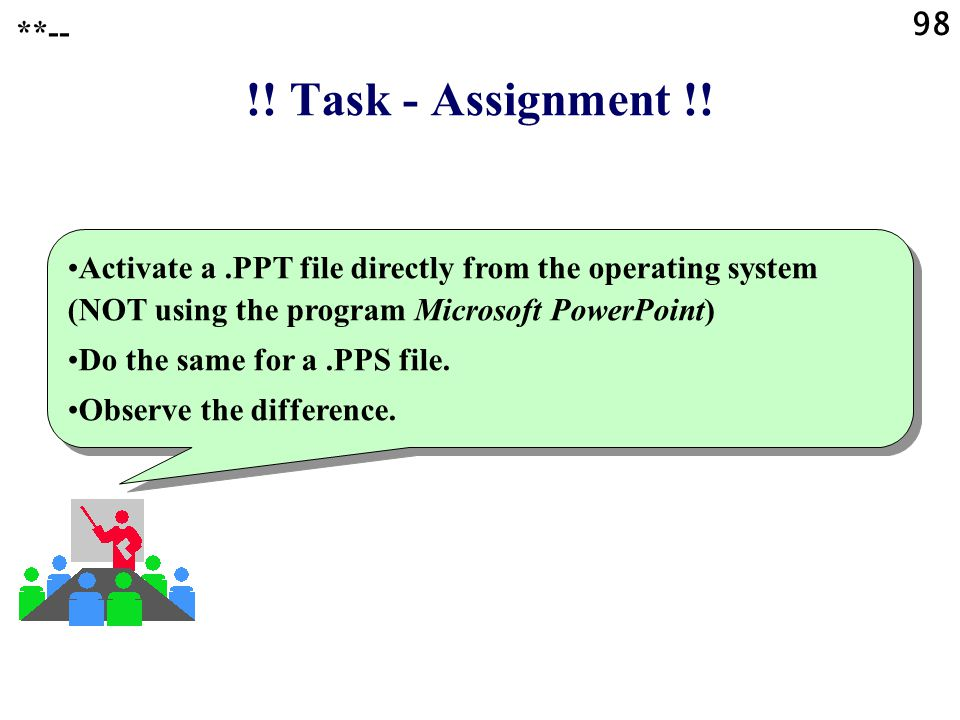 ?? Question ?? What is the difference between the file formats created by Microsoft PowerPoint, that have the file name extensions.PPT and.PPS? **-- 9