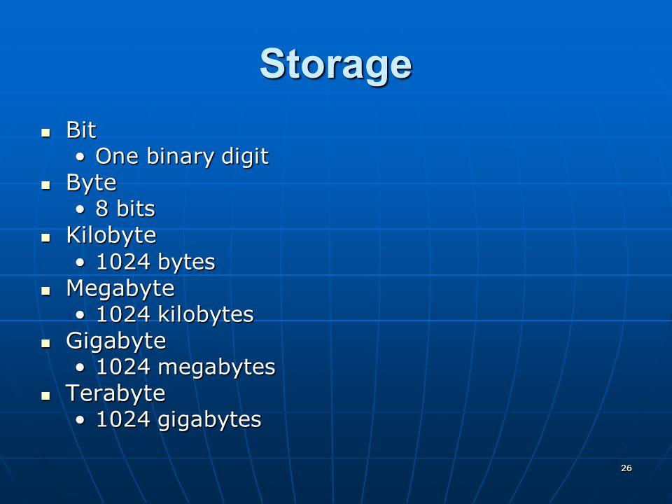 26 Storage Bit Bit One binary digitOne binary digit Byte Byte 8 bits8 bits Kilobyte Kilobyte 1024 bytes1024 bytes Megabyte Megabyte 1024 kilobytes1024 kilobytes Gigabyte Gigabyte 1024 megabytes1024 megabytes Terabyte Terabyte 1024 gigabytes1024 gigabytes