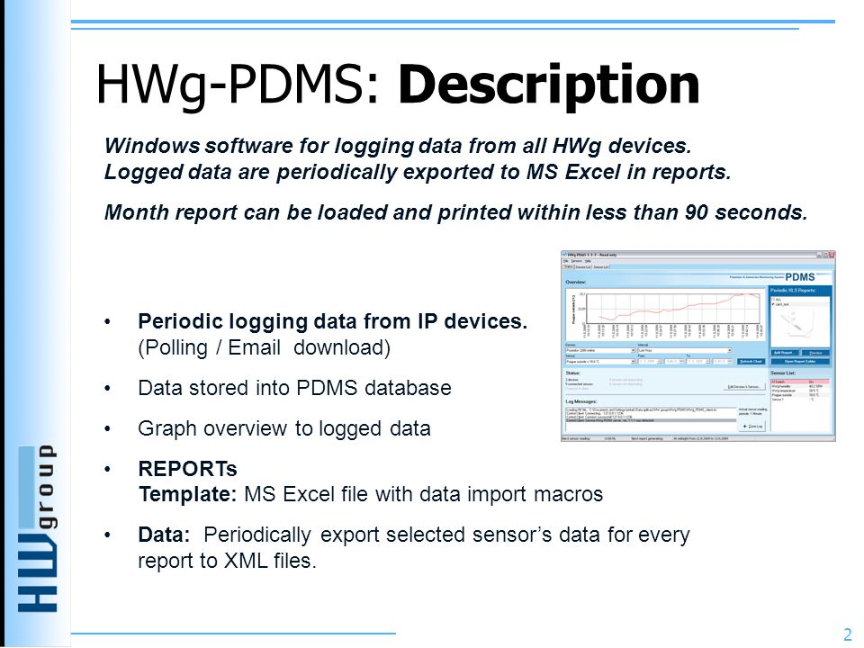 HWg-PDMS: Description 2 Periodic logging data from IP devices.