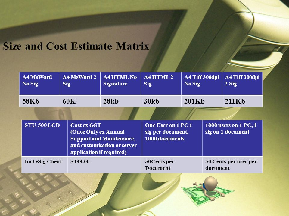 Size and Cost Estimate Matrix A4 MsWord No Sig A4 MsWord 2 Sig A4 HTML No Signature A4 HTML 2 Sig A4 Tiff 300dpi No Sig A4 Tiff 300dpi 2 Sig 58Kb60K28kb30kb201Kb211Kb STU-500 LCDCost ex GST (Once Only ex Annual Support and Maintenance, and customisation or server application if required) One User on 1 PC 1 sig per document, 1000 documents 1000 users on 1 PC, 1 sig on 1 document Incl eSig Client$499.0050Cents per Document 50 Cents per user per document