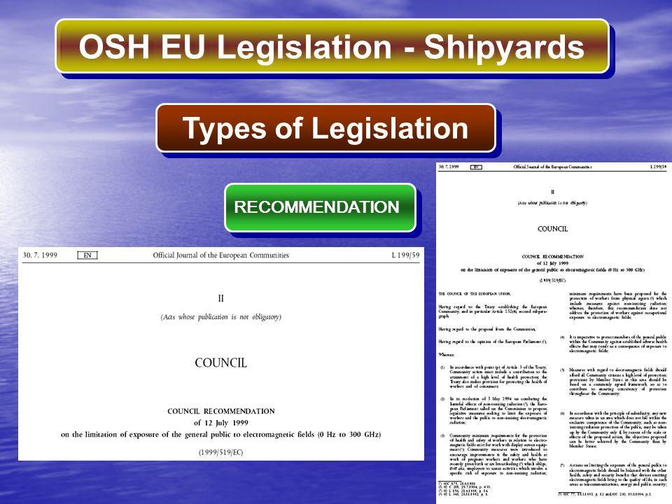 OSH EU Legislation - Shipyards Types of Legislation RECOMMENDATION