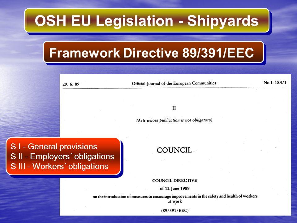 OSH EU Legislation - Shipyards Framework Directive 89/391/EEC S I - General provisions S II - Employers´ obligations S III - Workers´ obligations S I