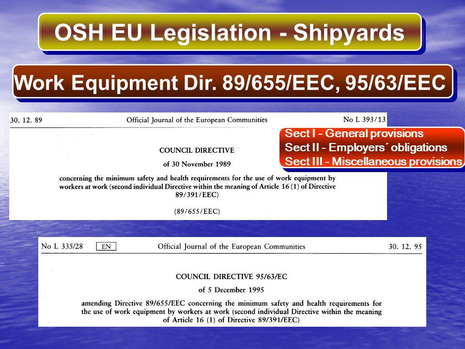 OSH EU Legislation - Shipyards Sect I - General provisions Sect II - Employers´ obligations Sect III - Miscellaneous provisions Sect I - General provi