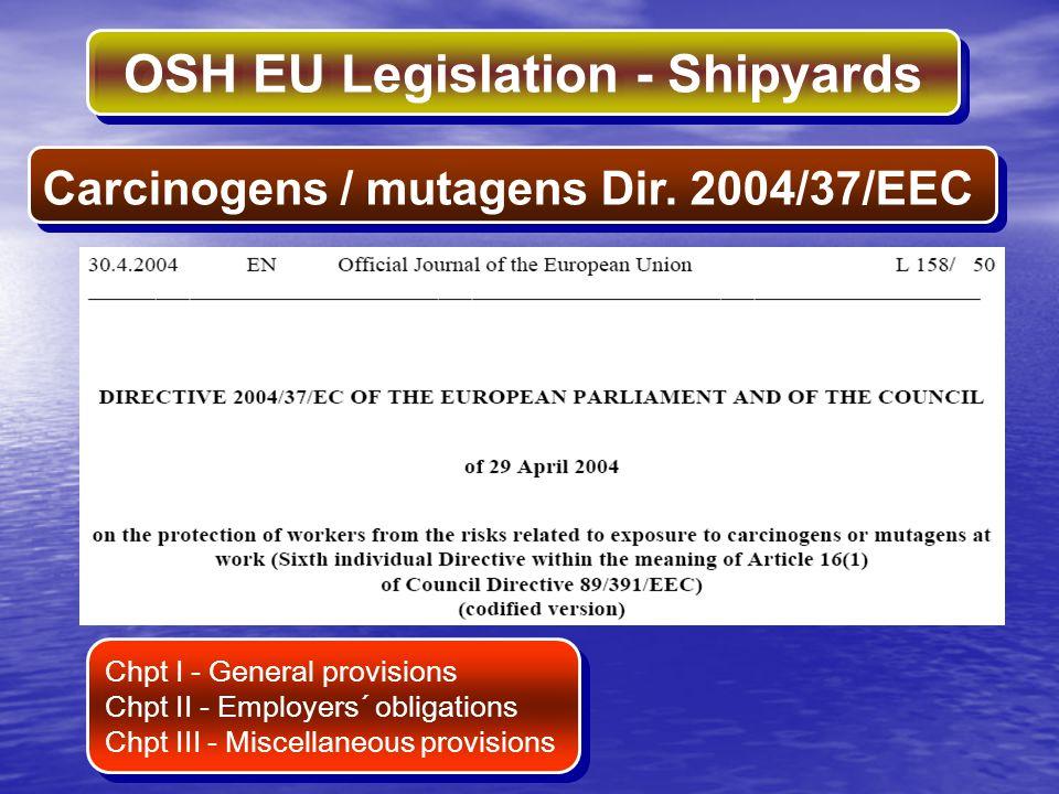 OSH EU Legislation - Shipyards Carcinogens / mutagens Dir. 2004/37/EEC Chpt I - General provisions Chpt II - Employers´ obligations Chpt III - Miscell