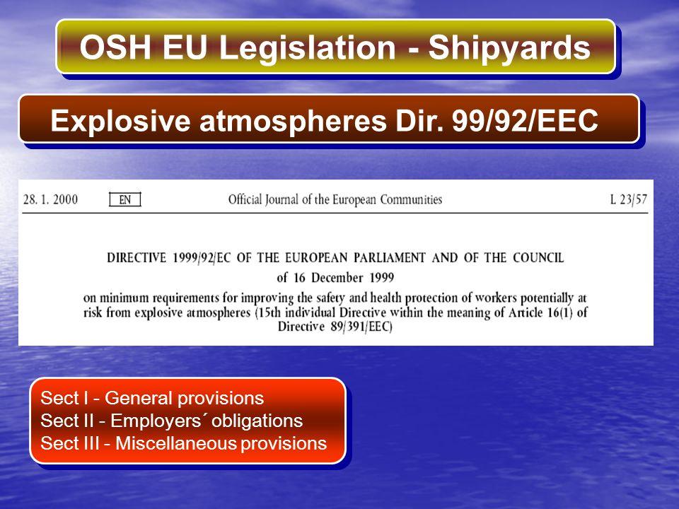 OSH EU Legislation - Shipyards Explosive atmospheres Dir. 99/92/EEC Sect I - General provisions Sect II - Employers´ obligations Sect III - Miscellane