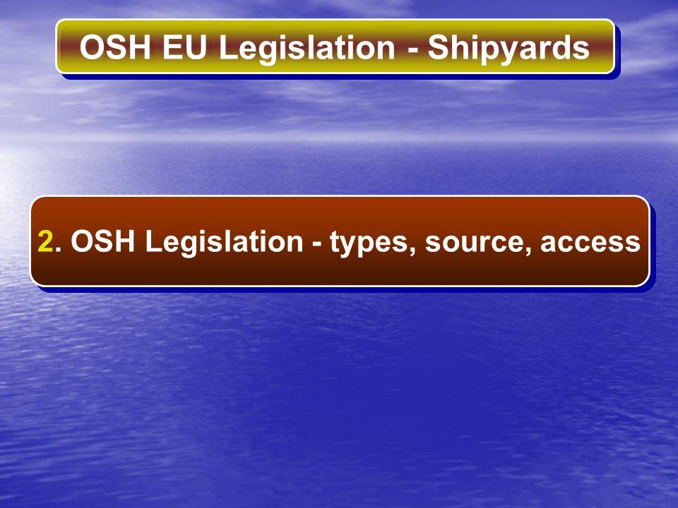 OSH EU Legislation - Shipyards REGULATIONS Directives - legal instruments for OSH EU Legislation Types of Legislation DIRECTIVES RECOMMENDATIONS SOURCE: Official Journal of the European Union