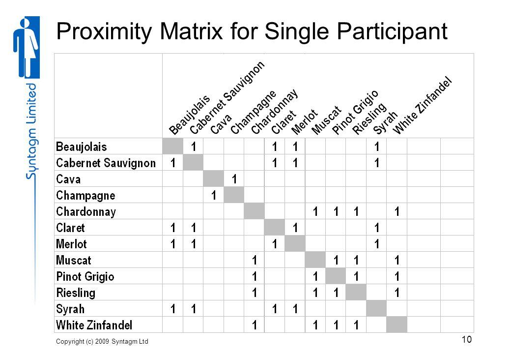 Copyright (c) 2009 Syntagm Ltd 10 Proximity Matrix for Single Participant