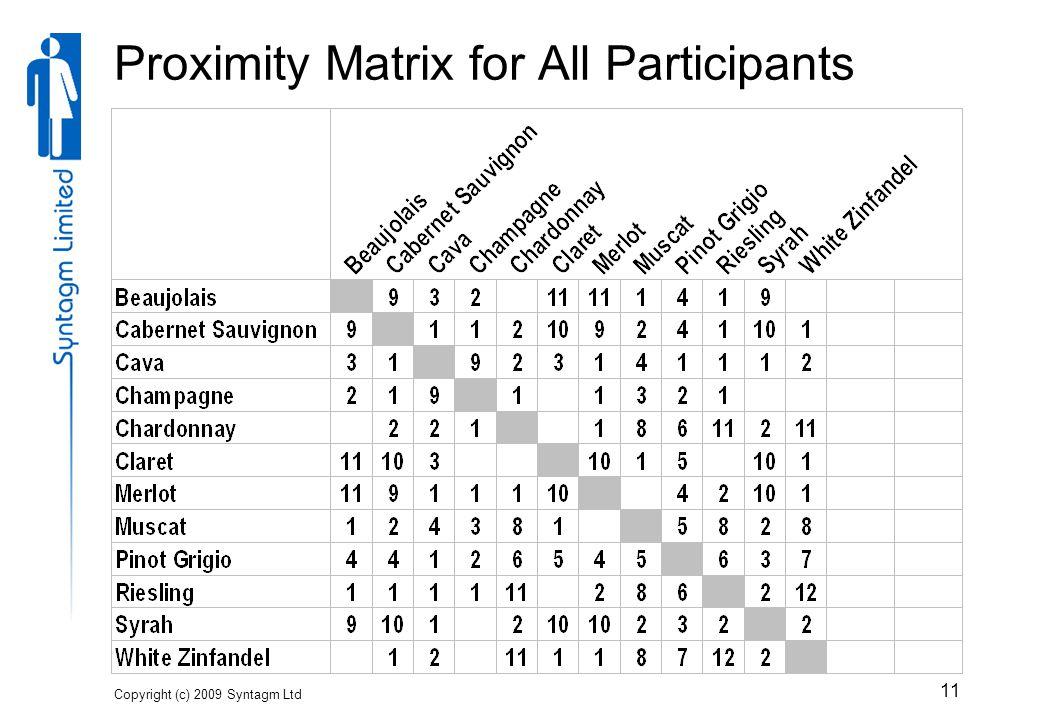 Copyright (c) 2009 Syntagm Ltd 11 Proximity Matrix for All Participants