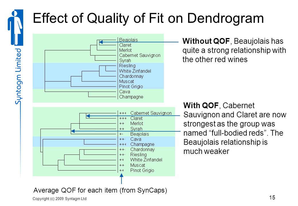 Copyright (c) 2009 Syntagm Ltd 15 Effect of Quality of Fit on Dendrogram Without QOF, Beaujolais has quite a strong relationship with the other red wines Average QOF for each item (from SynCaps) With QOF, Cabernet Sauvignon and Claret are now strongest as the group was named full-bodied reds .