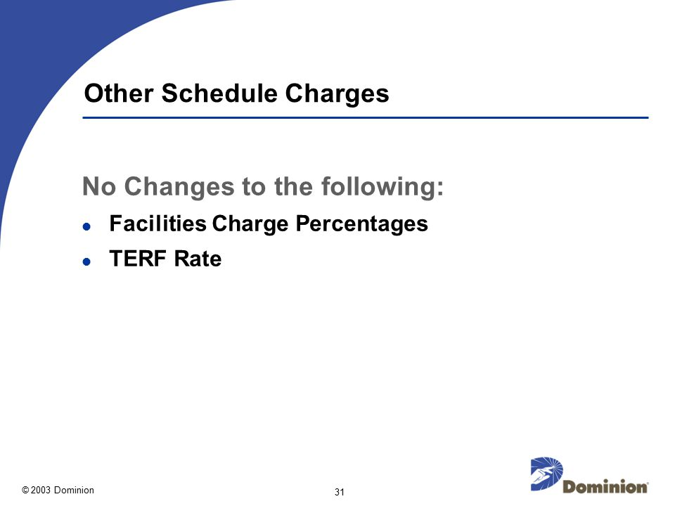 © 2003 Dominion 31 Other Schedule Charges No Changes to the following: Facilities Charge Percentages TERF Rate