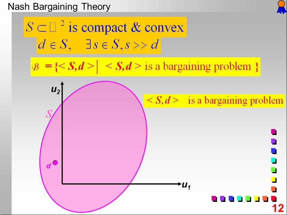 12 Nash Bargaining Theory u2u2 u1u1 d S