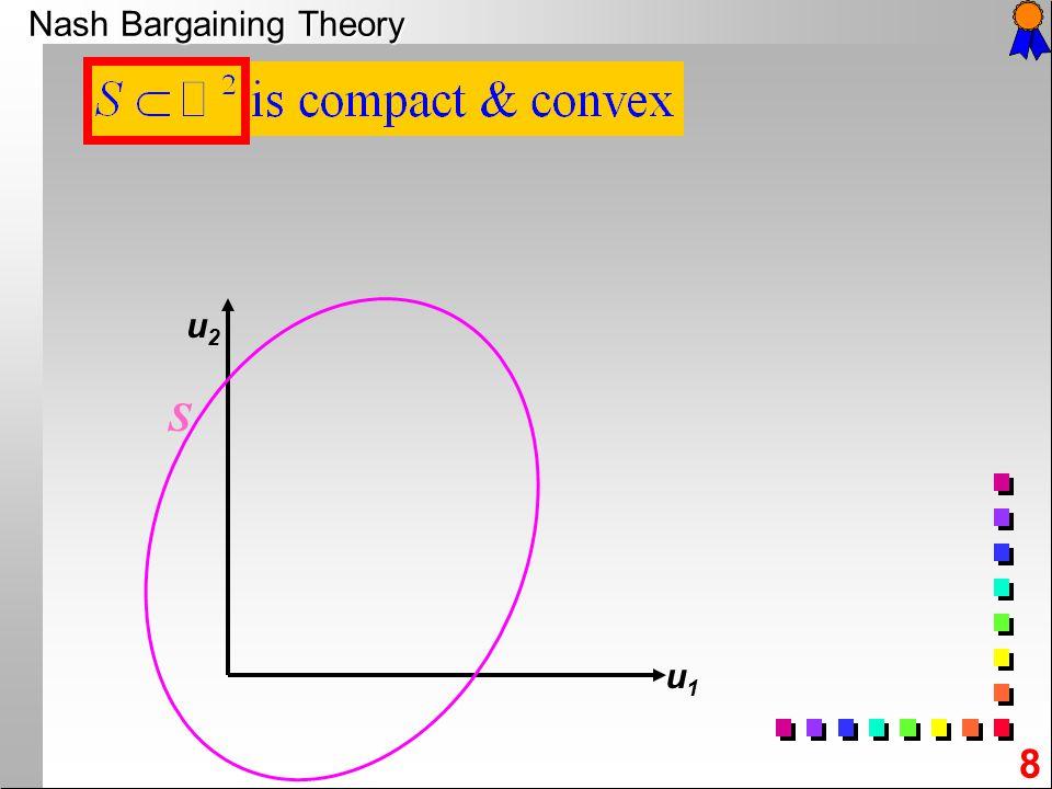 8 Nash Bargaining Theory u2u2 u1u1 S