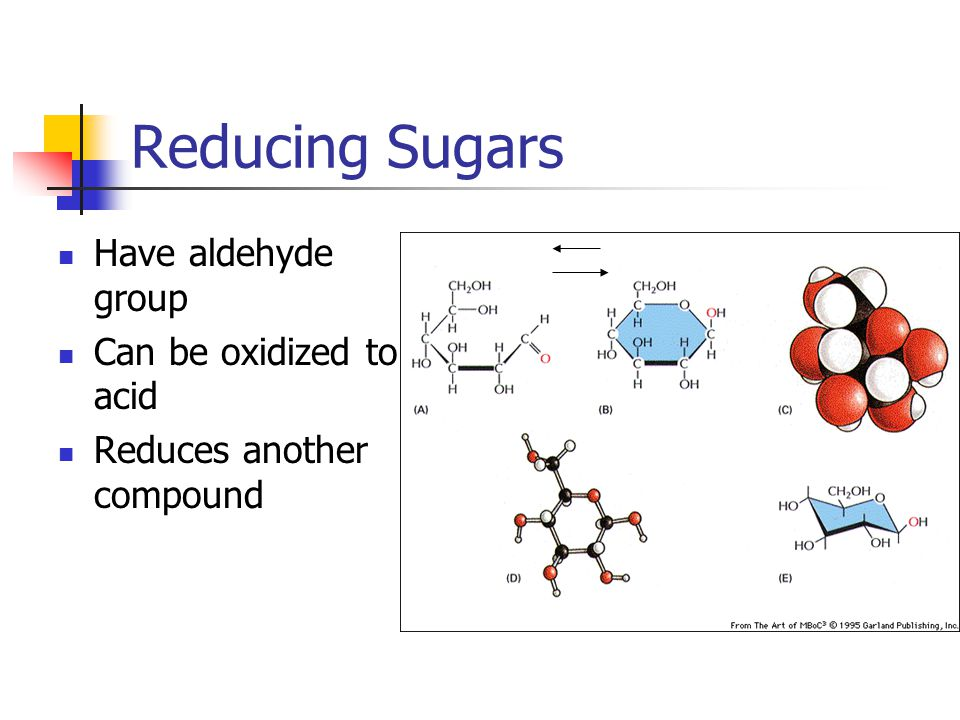 Reducing Sugars Have aldehyde group Can be oxidized to acid Reduces another compound
