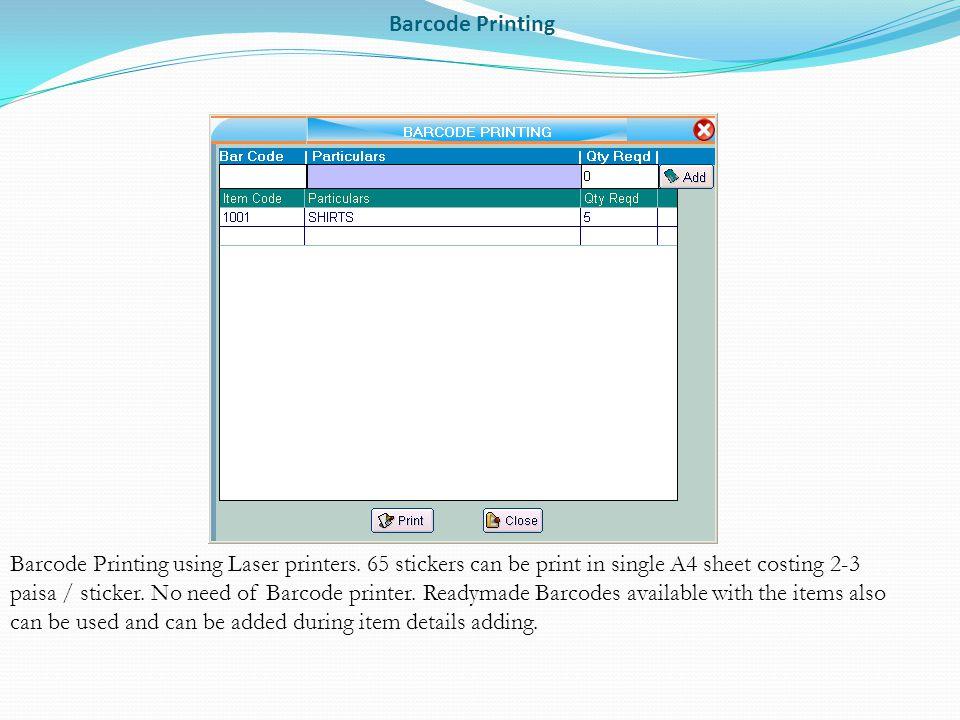 Barcode Printing Barcode Printing using Laser printers.