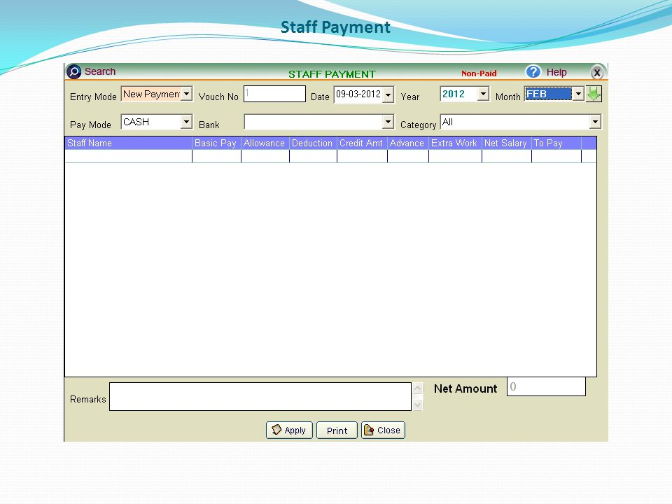 Staff Payment