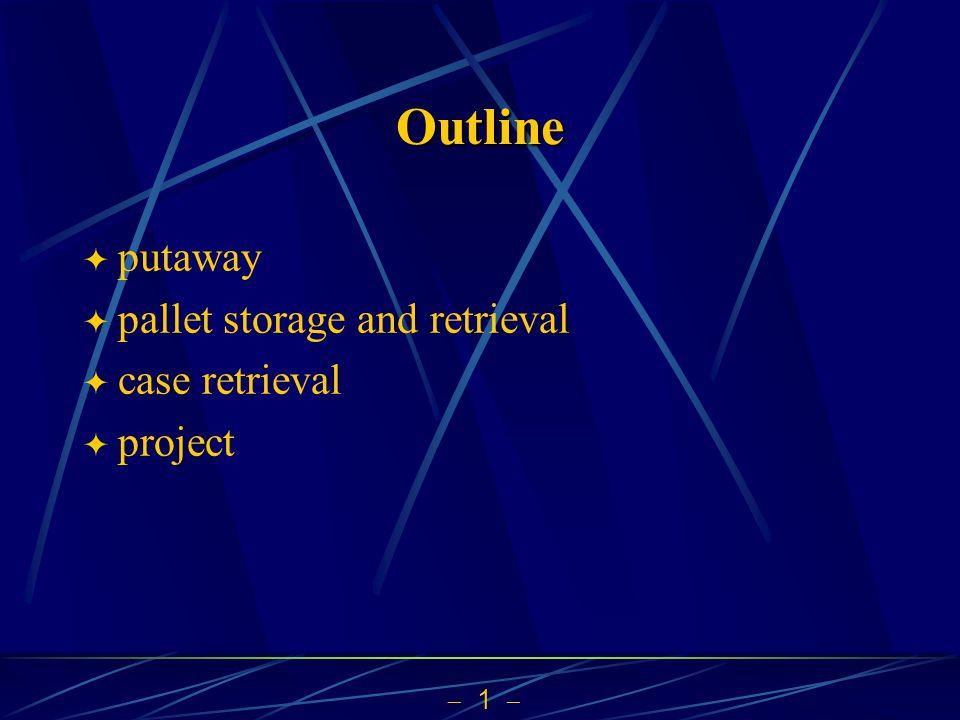  1  Outline  putaway  pallet storage and retrieval  case retrieval  project