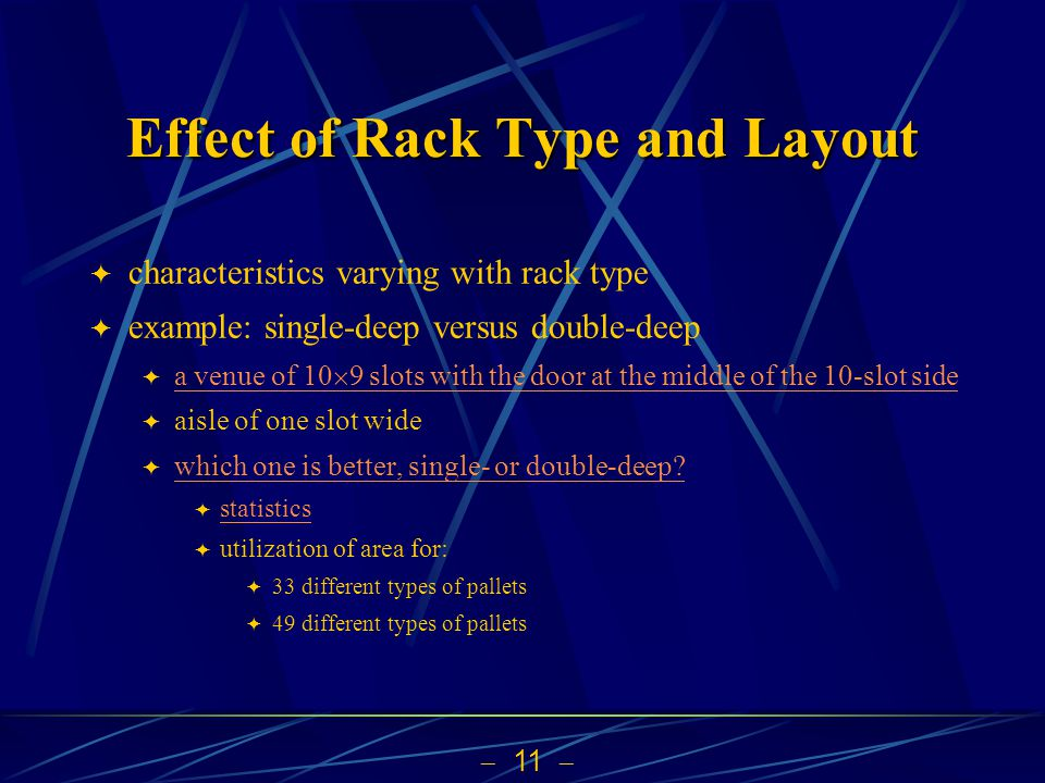  11  Effect of Rack Type and Layout  characteristics varying with rack type  example: single-deep versus double-deep  a venue of 10  9 slots wit