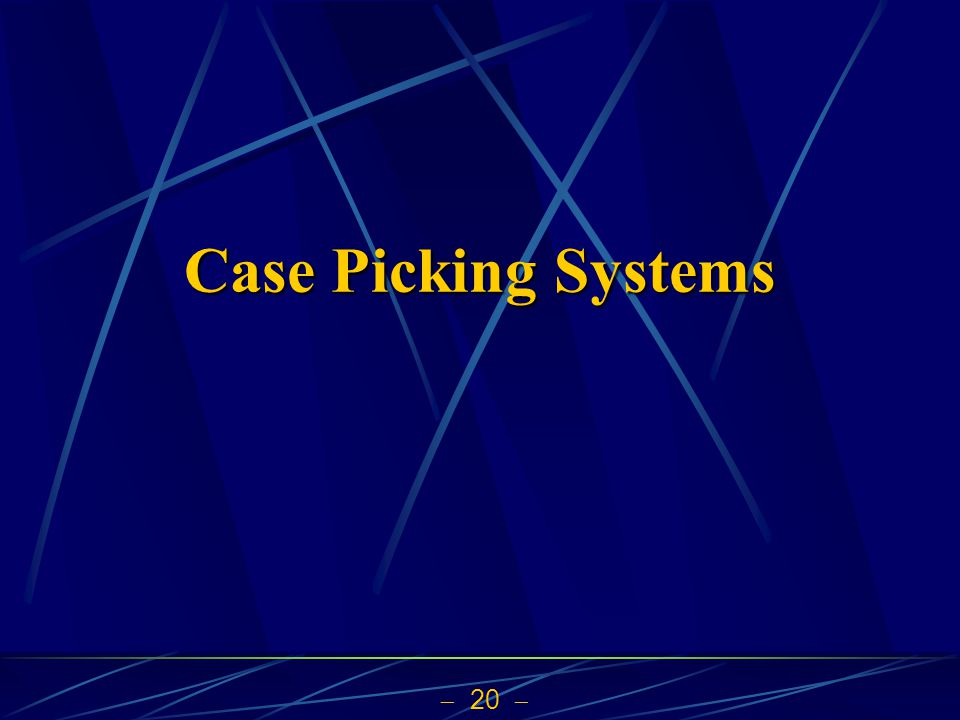 20  Case Picking Systems