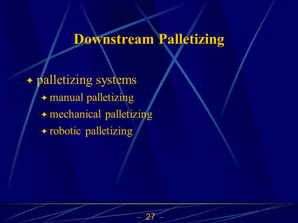  27  Downstream Palletizing  palletizing systems  manual palletizing  mechanical palletizing  robotic palletizing