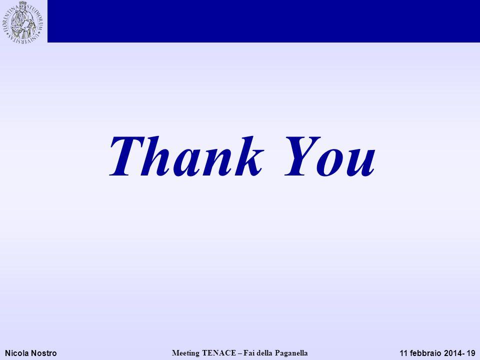 Nicola Nostro Meeting TENACE – Fai della Paganella 11 febbraio 2014- 19 Thank You